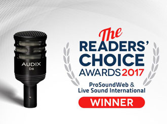 Mikrofon Audix D6 vítězem Readers Choice Awards 2017