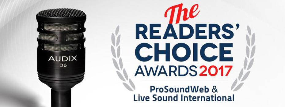 Mikrofon Audix D6 vítězem Readers Choice Awards 2017