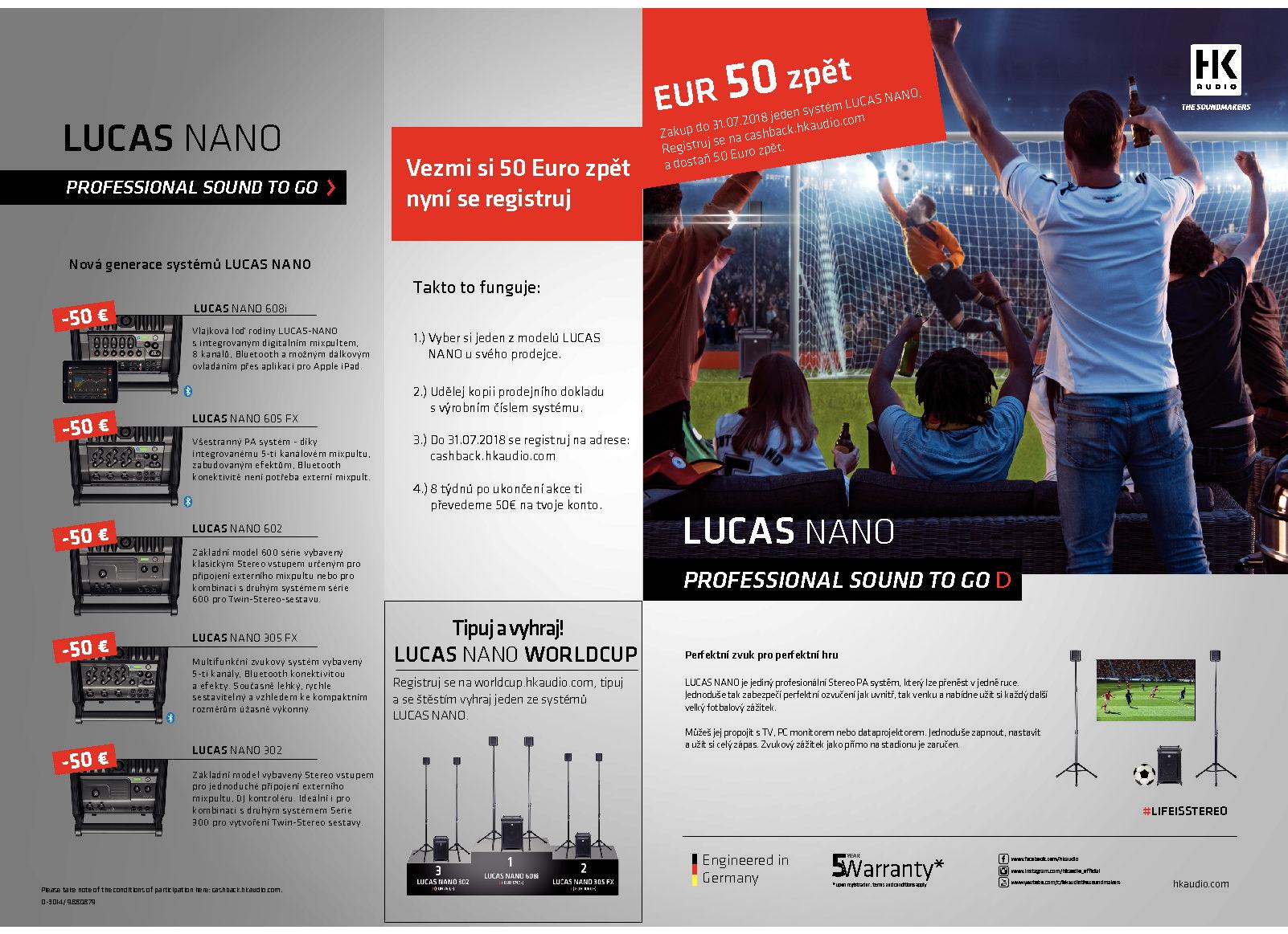 Obrázek č.2 article LUCAS NANO 50€ CASHBACK AKCE